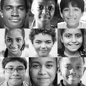 3 by 3 black and white grid of children's faces