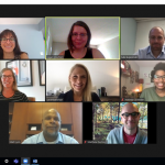 Zoom screenshot of the ONEplace Hub ONE webinar. From left to right, Amy, Ragan, Luke, Danielle, Sarah, Yolonda, Matt, and Matt.