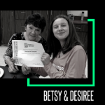 Image of Big Sister Betsy and Little Sister Desiree from Allegan County receiving an award from Big Brothers Big Sisters.