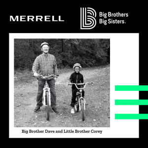 Image of Big Brother Dave and Little Brother Corey riding bikes on a trail in the woods.