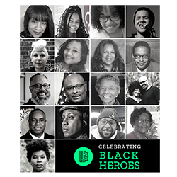 A gridded collage of portraits of the the 18 local Black Heroes featured in our Black History Month series
