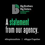 """BBBS Logo on a black background with green and white text reading, """"A statement from our agency,"""" above """"#StopAsianHate 