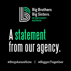 "BBBS Logo on a black background with green and white text reading, ""A statement from our agency,"" above ""#StopAsianHate 