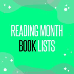 """White and black text """"Reading Month Book Lists"""" on a green background"""