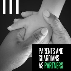 "Parents and Guardians as Partners"" over an image of a child's hand holding an adult's hand."