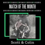 """Text reading """"Match of the Month"""" with photo of Colin and James outdoors sitting on a statue of a bear with text below reading Scott & Colin"""