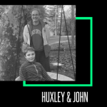 """Photo of Little Brother Huxley sitting in a tire swing with Big Brother John standing behind. Black and white image; text reading """"Huxley & John"""" at the bottom."""