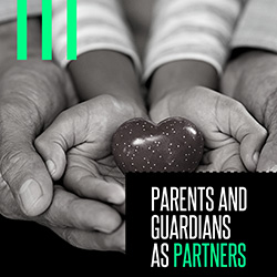 """An adult's open, cupped hands around a child's open, cupped hands holding a heart with overlaid text reading """"Parents and Guardians as Partners"""""""