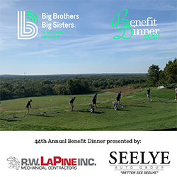 """5 golfers on a driving range above text reading, """"44th Annual Benefit Dinner presented by:"""" with R.W. LaPine, Inc. and Seelye Auto Group's logos"""